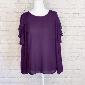 Banana Republic Cold Shoulder Purple Top